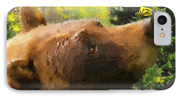 IPhone Case featuring the painting Bear - N - Butterfly Effect by Doug Kreuger