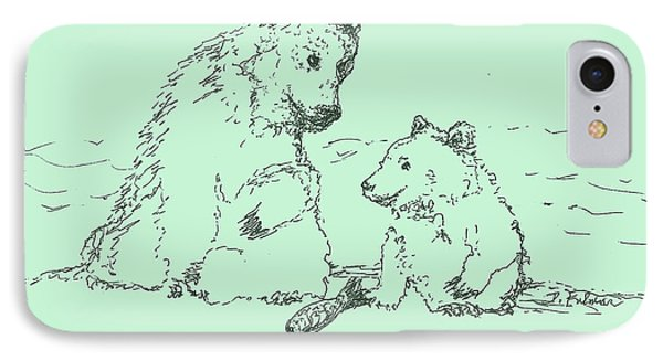 IPhone Case featuring the drawing Bear Necessities by Denise Fulmer