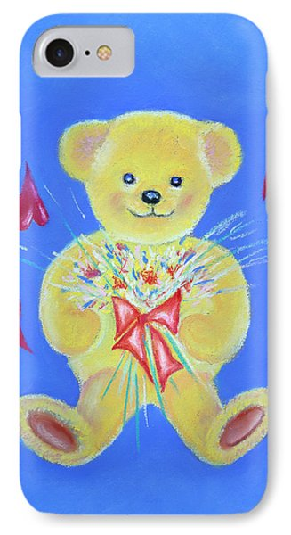 IPhone Case featuring the pastel Bear With Flowers by Elizabeth Lock