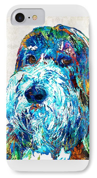 Bearded Collie Art 2 - Dog Portrait By Sharon Cummings IPhone Case by Sharon Cummings