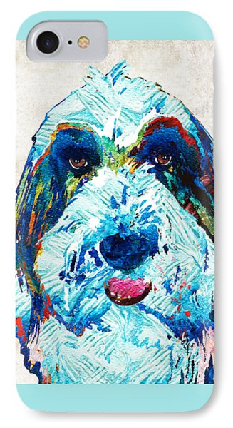 Bearded Collie Art - Dog Portrait By Sharon Cummings IPhone Case by Sharon Cummings