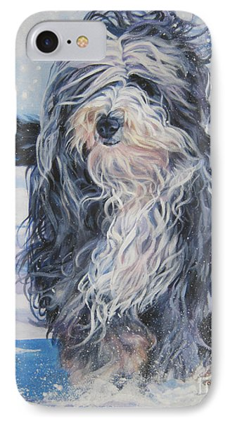Bearded Collie In Snow Phone Case by Lee Ann Shepard
