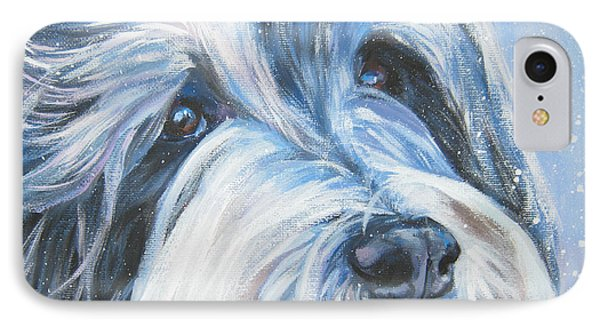 Bearded Collie Up Close In Snow Phone Case by Lee Ann Shepard
