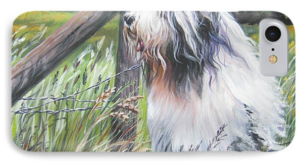 Bearded Collie With Cardinal Phone Case by Lee Ann Shepard