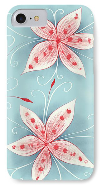 Beautiful Abstract White Red Flowers IPhone Case
