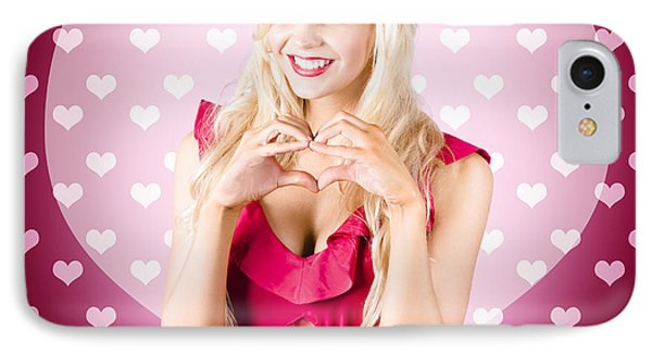 Beautiful Blonde Woman Gesturing Heart Shape IPhone Case by Jorgo Photography - Wall Art Gallery