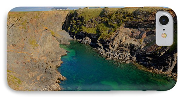 Beautiful Coastal Inlet Turquoise Blue Sea Pepper Cove Between Treyarnon And Porthcothan From Path IPhone Case by Michael Charles