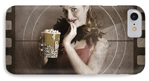 Beautiful Film Actress On Vintage Movie Screen IPhone Case