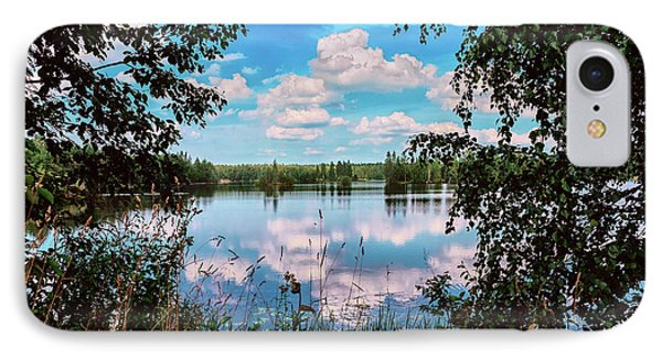 beautiful forest lake in Sunny summer day IPhone Case