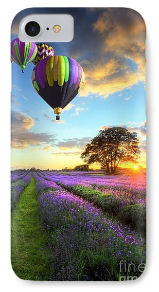 Beautiful Image Of Stunning Sunset With Atmospheric Clouds And Sky Over Vibrant Ripe Lavender Fields IPhone Case by Caio Caldas