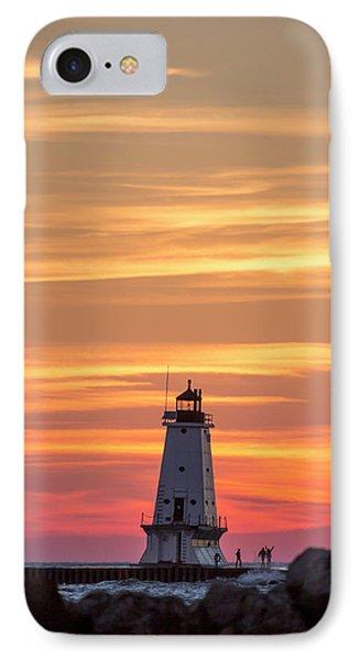 Marquette iPhone 7 Case - Beautiful Ludington Lighthouse Sunset by Adam Romanowicz