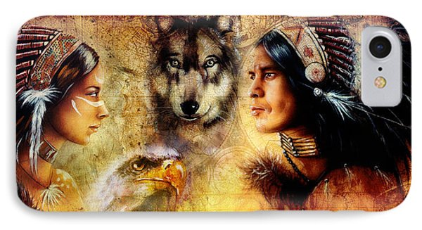 Beautiful Painting Of An Young Indian Man And Woman  Accompanied IPhone Case by Jozef Klopacka