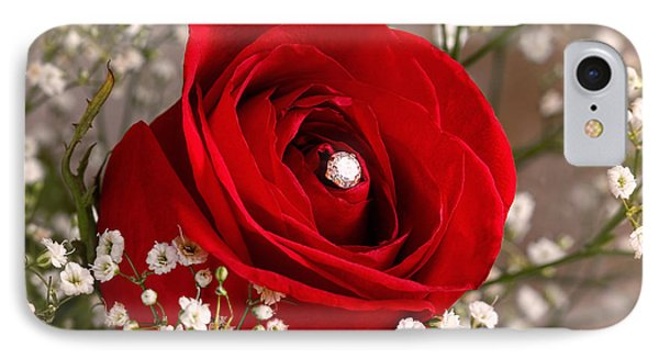 Beautiful Red Rose With Diamond Phone Case by Tracie Kaska