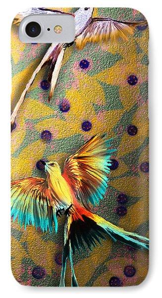 IPhone Case featuring the digital art Beautiful Scissor-tailed Flycatchers by Iowan Stone-Flowers