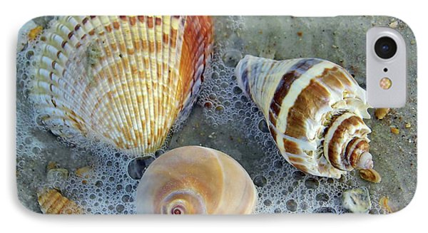 Beautiful Shells In The Surf IPhone Case by D Hackett