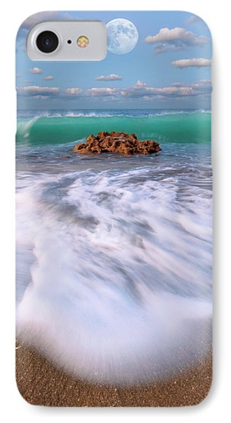 Beautiful Waves Under Full Moon At Coral Cove Beach In Jupiter, Florida IPhone Case by Justin Kelefas