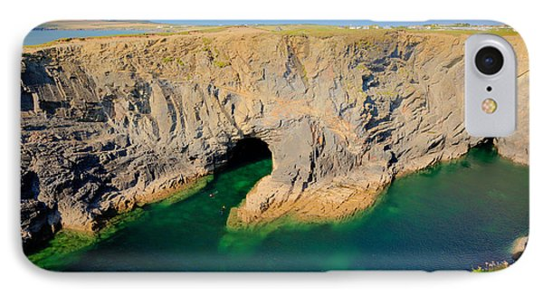 Beautiful Wine Cove Cornwall Coast Turquoise Blue Sea With Snorkellers Near Treyarnon IPhone Case by Michael Charles