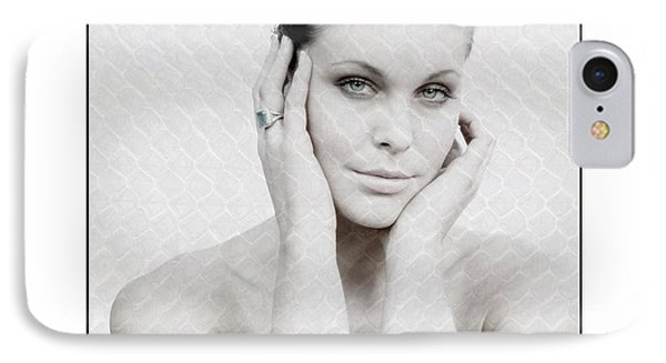 IPhone Case featuring the photograph Beautiful Woman Holding Her Head Up by Michael Edwards