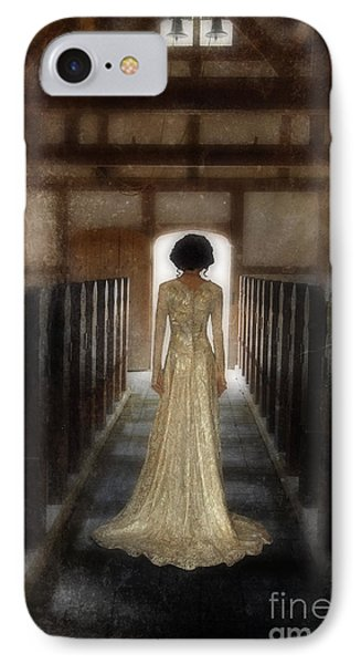 Beautiful Woman In Lace Gown In An Old Rural Chapel IPhone Case by Jill Battaglia
