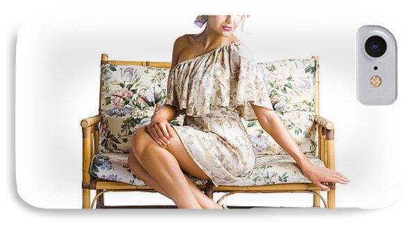 Beautiful Woman On Couch IPhone Case by Jorgo Photography - Wall Art Gallery