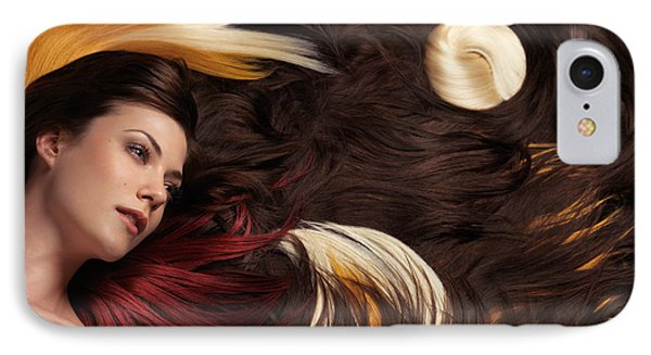 Beautiful Woman With Colorful Hair Extensions Phone Case by Oleksiy Maksymenko