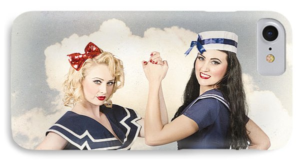 Beautiful Women With Pinup Hairstyle And Makeup IPhone Case by Jorgo Photography - Wall Art Gallery