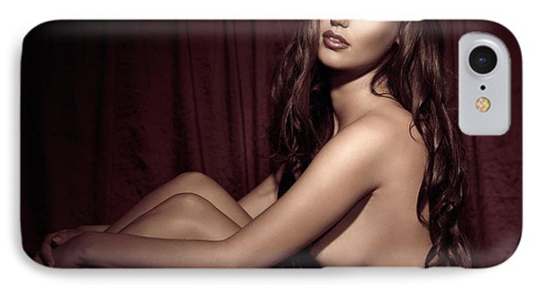 Beautiful Young Woman Sitting Naked In Bed Phone Case by Oleksiy Maksymenko