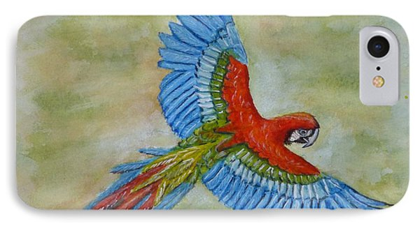 IPhone Case featuring the painting Beauty In The Sky ... Parrot by Kelly Mills