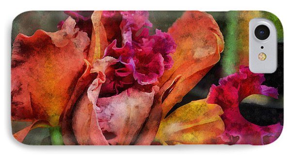 IPhone Case featuring the mixed media Beauty Of An Orchid by Trish Tritz