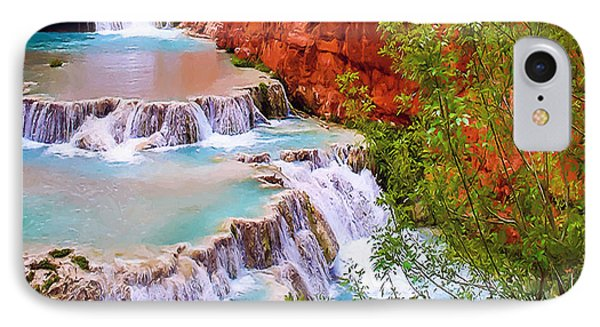 Beaver Falls Grand Canyon Painting Phone Case by Dr Bob Johnston