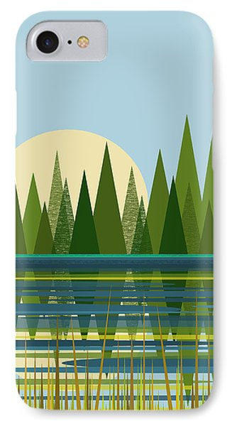 IPhone Case featuring the digital art Beaver Pond - Vertical by Val Arie