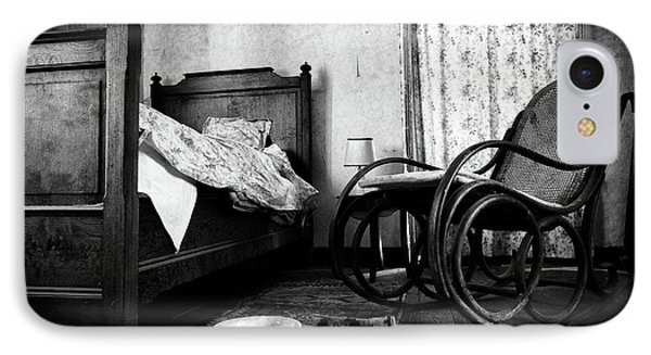 Bed Room Rocking Chair - Abandoned Building Bw IPhone Case by Dirk Ercken