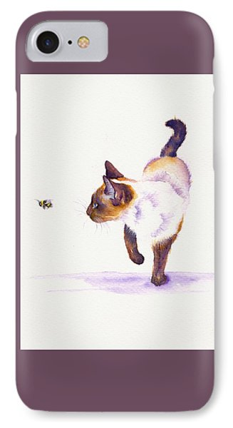 Cat iPhone 7 Case - Bee Free by Debra Hall