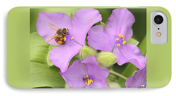 IPhone Case featuring the photograph Bee On Purple Spiderwort by Sheila Brown