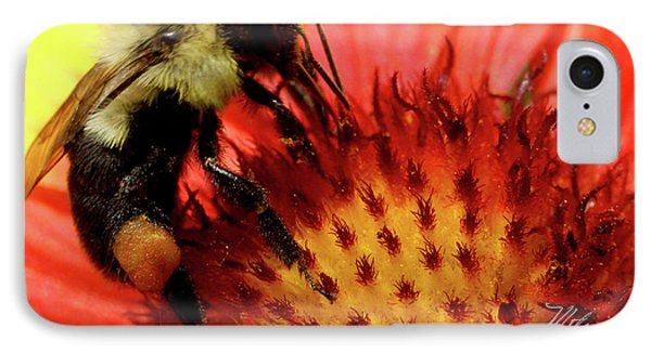 IPhone Case featuring the photograph Bee Red Flower by Meta Gatschenberger
