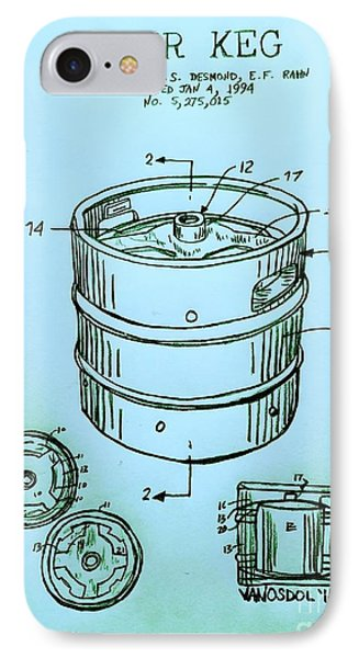 Beer Keg 1994 Patent - Blue IPhone 7 Case by Scott D Van Osdol