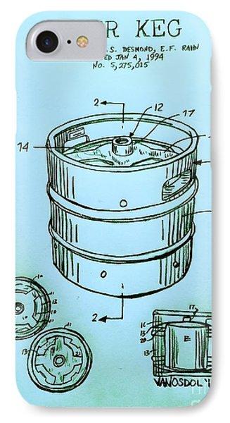 Beer Keg 1994 Patent - Blue IPhone Case by Scott D Van Osdol