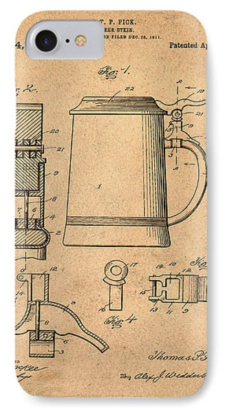 Beer Stein Patent 1914 In Sepia IPhone Case