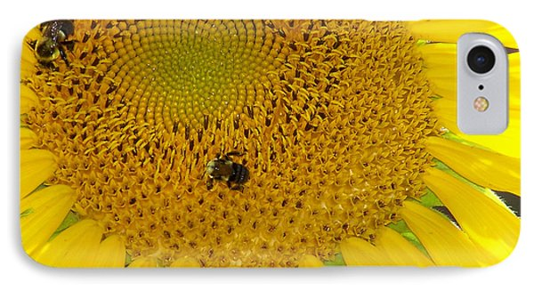 IPhone Case featuring the photograph Bees Share A Sunflower by Sandi OReilly