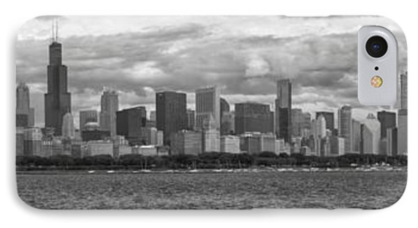 Before The Spring Storm Chicago Lakefront Panorama 05 Bw IPhone Case