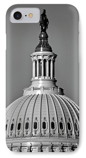 IPhone Case featuring the photograph Behind Liberty In Black And White by Chrystal Mimbs