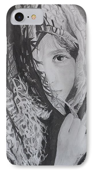 IPhone Case featuring the drawing Behind The Veil by Quwatha Valentine