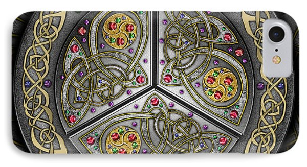 IPhone Case featuring the mixed media Bejeweled Celtic Shield by Kristen Fox