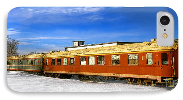 IPhone Case featuring the photograph Belfast And Moosehead Railroad Cars In Winter by Olivier Le Queinec