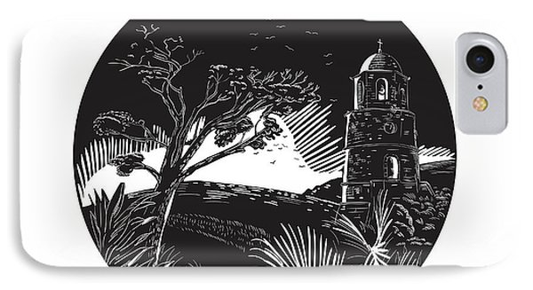 Belfry Tower On Hill Trees Circle Woodcut IPhone Case