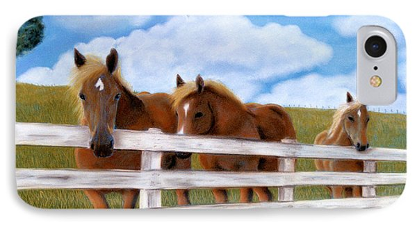 IPhone Case featuring the pastel Belgians At Pasture by Jan Amiss