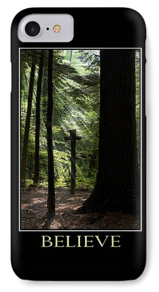 Believe Inspirational Motivational Poster Art Phone Case by Christina Rollo