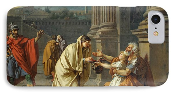 Belisarius, General Of The Roman Emperor Justinian, Reduced To Begging IPhone Case by Jacques-Louis David