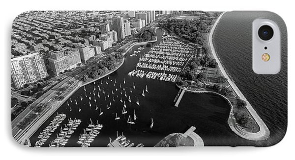 Belmont Harbor Chicago B W IPhone Case by Steve Gadomski