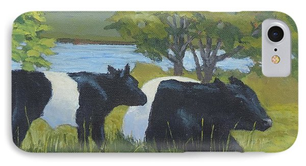 Belted Galloway And Calf IPhone Case by Bill Tomsa